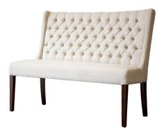 Tufted White Dining Bench With Wood Leg