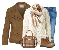 """Brown and beige"" by lenaick ❤ liked on Polyvore featuring W118 by Walter Baker, MANGO, The Row, Burberry, women's clothing, women, female, woman, misses and juniors"