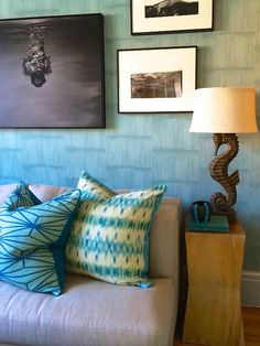 Design firm Bjornen Design feature Vinyl Split Bamboo 3643 Blue Daiquiri in the living room of the 2014 Hamptons Holiday House.