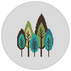 Retro trees Cross Stitch Pattern PDF Instant Download by Xrestyk