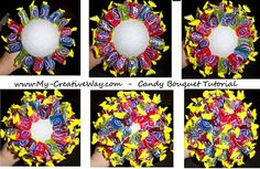 Candy Bouquet  this is a great idea for a birthday party  Found this on My Creative way lots of fun ideas