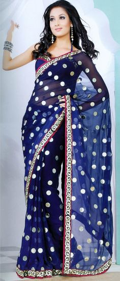 Royal #Blue Faux Georgette #Saree with #Blouse @ $41.85