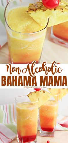 This delicious Bahama Mama smoothie (or slush) is a fun take on a popular drink. And since you can make it as a cocktail or a mocktail, it's a great drink option for everyone in the family! Easy Drink Recipes, Drinks Alcohol Recipes, Fruit Recipes, Cocktail Recipes, Dessert Recipes, Delicious Recipes, Bahama Mama Smoothie Recipe, Bahama Mama Drink, Popular Drinks