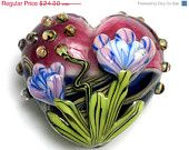 ON SALE 40% OFF 11804225 Grace's Garden Heart (Large) - Handmade Glass Lampwork Beads