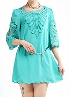Green Round Neck Half Sleeve Embroidery Hollow Dress