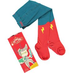 A pair of Little Hero Tights by Little Titans. This fine pair of superhero tights will make any little one feel like a real-life action hero! Comfy, cosy and - we reckon - pretty cool, the Little Hero Tights are made from soft European combed cotton (Oeko-Tex® Certified). The superhero feet have a warm and cosy terry lining and non-slip soles. Now your little ones can play at being heros all day! #gifts #howkapow #kids