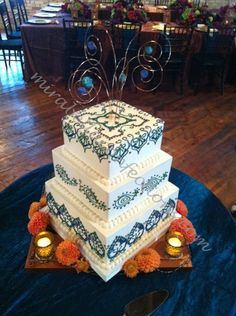 Lots Of Colored Piping On This Morrocan Themed Wedding Cake! MiraBella Grand  Rapids, Michigan