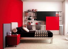 Bedroom: Marvellous Red Color Paint For Bedroom Design For Teenage Girl  Completed By Black Beddings