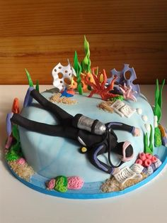 Coral Reef Cake, Scuba Diver Cake, Underwater, Birthday Cake