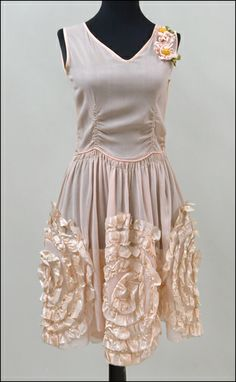 Circa 1920 crepe and silk ribbon evening gown.