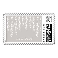 Baby Shower Whimsical Vines Gray Postage