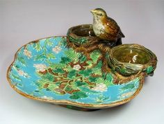 George Jones majolica finch with nests strawberry server ~ c. 1880's ~ English