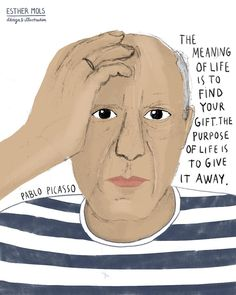 I know, it is a little tricky to draw one of the best artists that ever lived. Magazine Illustration, Portrait Illustration, Meaning Of Life, Pablo Picasso, Best Artist, Famous People, Finding Yourself, Drawings, Maira Kalman