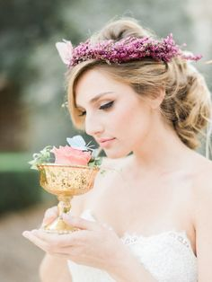 Pretty spring flower crown: http://www.stylemepretty.com/california-weddings/pasadena/2016/07/06/trending-floral-filled-braids/ | Photography: Honey Honey Photography - http://www.hoooney.com/