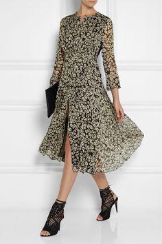 Burberry Brit|Printed silk-georgette midi dress|NET-A-PORTER.COM