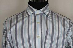 Thomas Dean Mens Long Sleeve Blue White Striped Casual Dress Shirt sz XL #ThomasDean #ButtonFront