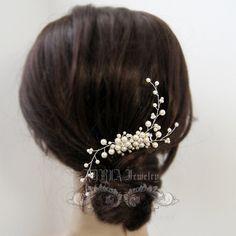 Ivory Pearl Rhinestone Floral Vine Bridal Hair by adriajewelry