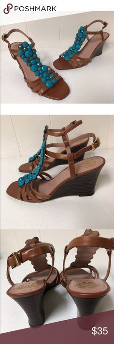 Vince Camuto Sandals Wedges Leather Jeweled 10 Vince Camuto Sandals Wedges Bandell Leather Brown Blue Jeweled Shoes 10  Great condition - never worn outside Vince Camuto Shoes Sandals