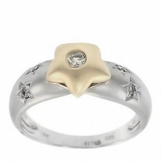 0.20 Cttw Round Cut Diamond Star Satin Finish Cocktail Ring in 14K Two-Tone Gold by GetDiamondsDirect on Etsy