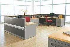 Sleek and stylish nurses' station furnishings. [HON Abound® Workstation]