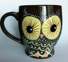 Owl Coffee Mug  by InkyDreamz on Etsy, $25.00