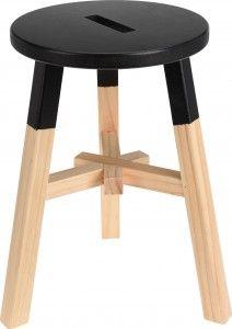 Stołek drewniany - czarny