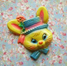 Vintage Plastic Bunny Rabbit Head cake Decoration