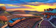 Daniel Ng is a fine artist who paints with imagination but not from imagination. Each landscape painting is inspired from an actual place. He creates composition in a simplified form with designs of shapes and patterns found in nature. Latino Art, Landscape Paintings, Landscapes, Fields, Sunset, Places, Illustration, Nature, Art