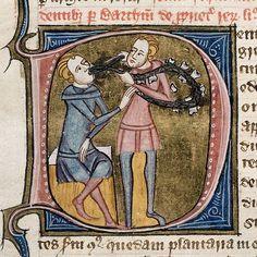 Un dentiste avec une pince d'argent et un collier de dents, arrachant une dent à un homme assis. Londres -Angleterre, 1360-1375.