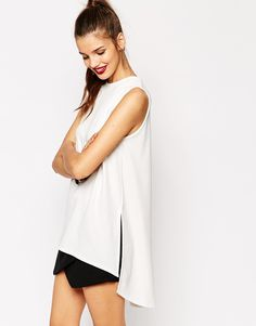 Daisy Street Sleeveless Top with Side Split Detail