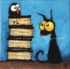 Original Acrylic on Canvas Board Lucia Stewart Stressie Cat Folk Art Book Tower | eBay