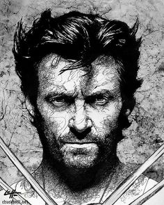 Print 8x10  Wolverine  Hugh Jackman X Men Superhero by chuckhodi