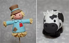 Cow & Scarecrow by Cake Avenue  polymer clay porcalena fria pasta francesa masa flexible modelado modelling figurine topper fondante fimo