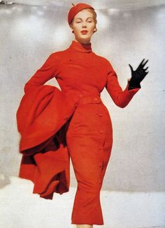 Fiona Campbell-Walter in Dior's 'Red Pepper' outfit of a fine silky woollen. The name came from the cap which is like a pepper complete with stalk, photo by Frances McLaughlin-Gill, 1953