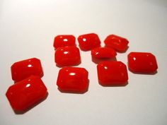 Vintage Coral Red colour Opaque Glass by JEDJewellerySupplies, £2.99