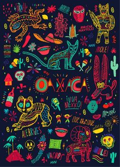 Vibrant design and illustrations that Bosque of Argentina created for the Oaxaca moleskine for Monoblock.
