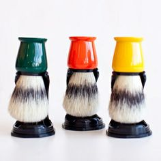 Groomsmen Gifts - Natural Bristle Shaving Brush  A natural boar brush with glossy color-saturated stand will be treasured and broken out for every memorable event.  $18 each @ poketo.com