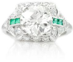 2.45CT Old Euro Diamond Ring in Platinum by MiriamsEstateJewelry