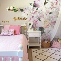 Peony Wall Decals in Girl's Room