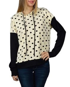 Long Sleeved Polka Dot Patterned Top with Hoddie-id.30764