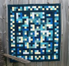 Lap Quilt Blue Yellow Handmade Ready to Ship