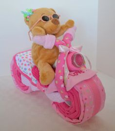 Diaper Cake Motorcycle Bike Diaper Cake,  Baby Shower Gift, Centerpiece, Baby Cake,  Baby Girl Gift, Teddy Bear