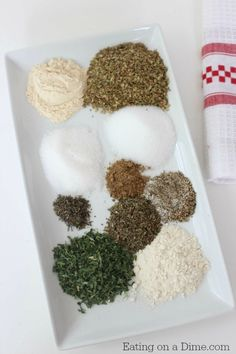 copy cat good seasonings mix.  A little too much oregano, and run it through a food processor