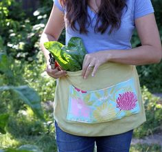 Garden Harvest Apron. Made from upcycled tea towels, what a cool idea!