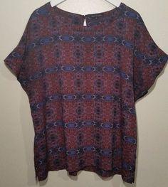 Violet & Claire 2X Short Sleeve Blue Red Shirt Womens plus #VioletClaire #Blouse