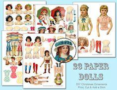 Free DIY Paper Doll Christmas Ornaments