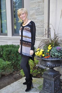 Leggings make a great transition piece for fall. See some other looks Deb is wearing in this post.