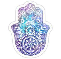 'Blues Hamsa Hand' Sticker by maryedenoa Mandala Design, Hamsa Art, Hamsa Drawing, Hand Sticker, Hand Tattoo, Full Sleeve Tattoos, Jewish Art, Framed Prints, Art Prints