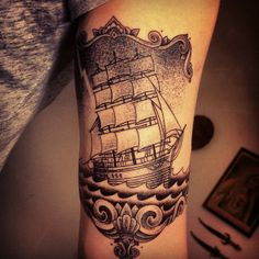 ship by gregorio marangoni #tattoo # shading #black and grey