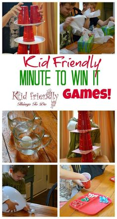 Kid Friendly Easy Minute To Win It Games for Your Party {The Best!} Kid Friendly Easy Minute To Win It Games for Your Party – [. Geek House, Deco Gamer, New Year's Games, Group Games, Nye Games, Games For Big Groups, Relay Games, Night Games, Holiday Games